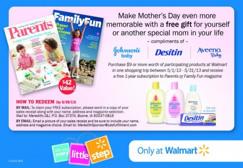 Mother's Day Promotion from Johnson & Johnson and Walmart
